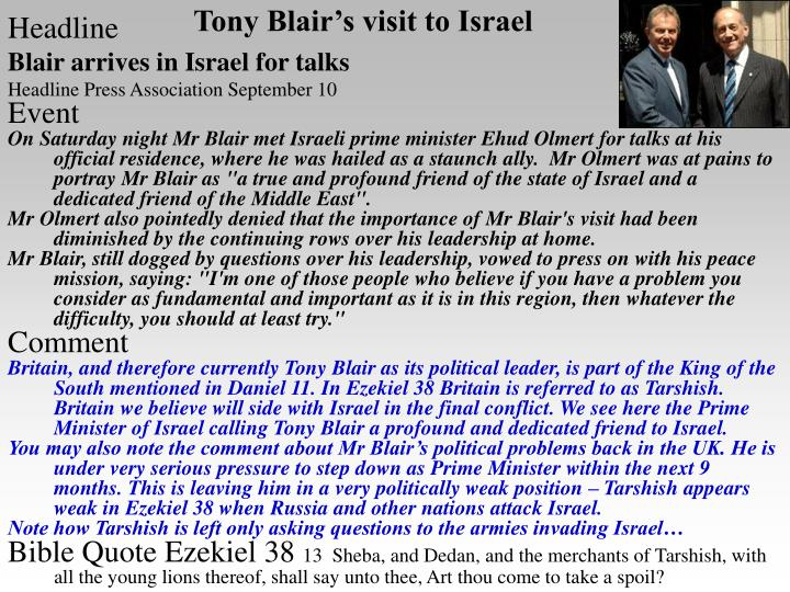Tony Blair's visit to Israel
