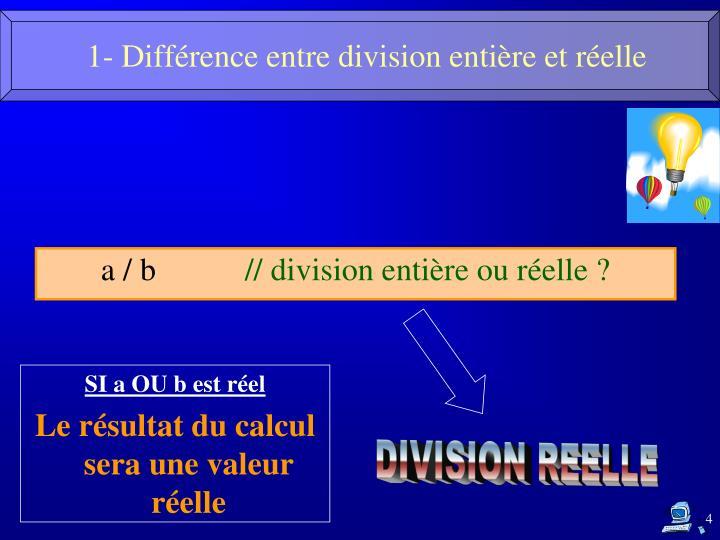 1- Différence entre division entière et réelle