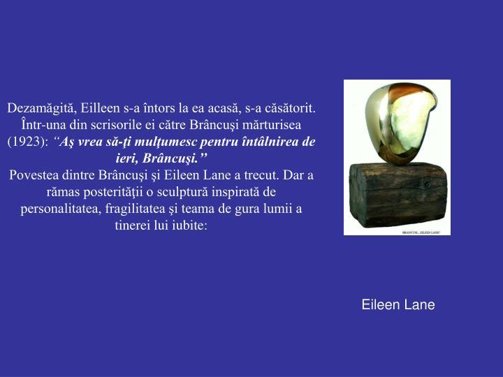 Dezamăgită, Eilleen s-a întors la ea acasă, s-a căsătorit. Într-una din scrisorile ei către Brâncuşi mărturisea (1923):
