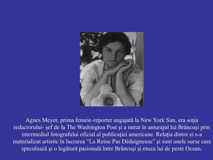 Agnes Meyer, prima femeie-reporter angajată la New York Sun, era soţia redactorului- şef de la The Washington Post şi a intrat în anturajul lui Brâncuşi prin intermediul fotografului oficial al publicaţiei americane.