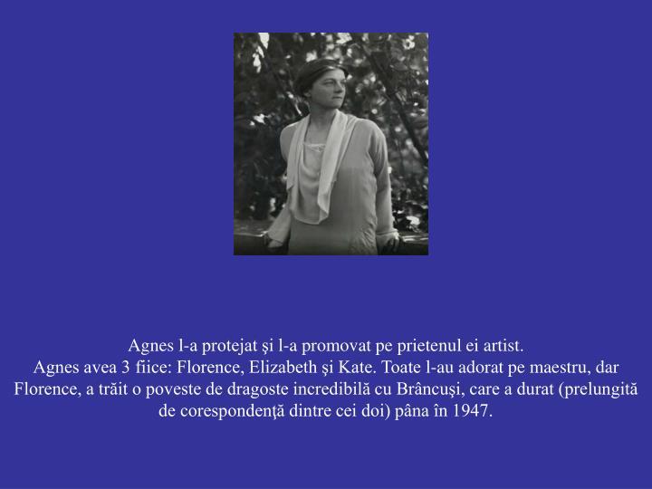 Agnes l-a protejat şi l-a promovat pe prietenul ei artist.