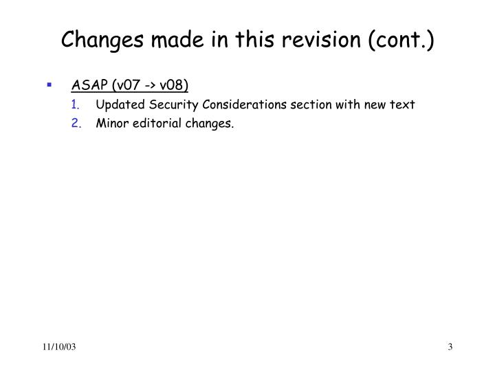 Changes made in this revision cont