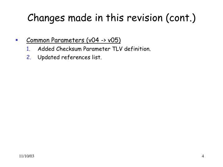 Changes made in this revision (cont.)
