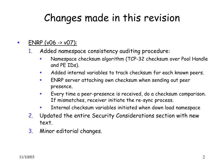 Changes made in this revision