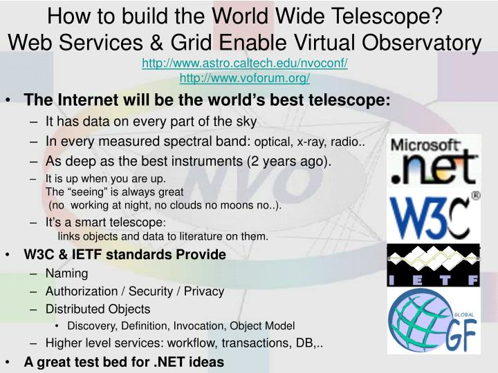 How to build the World Wide Telescope?