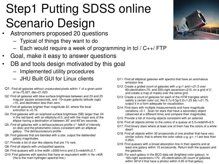 Step1 Putting SDSS online Scenario Design