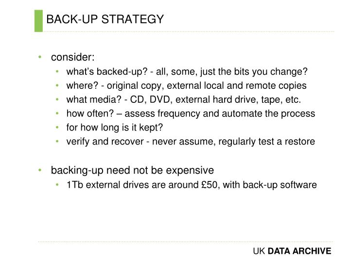 BACK-UP STRATEGY