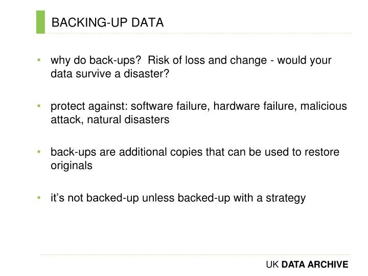 BACKING-UP DATA