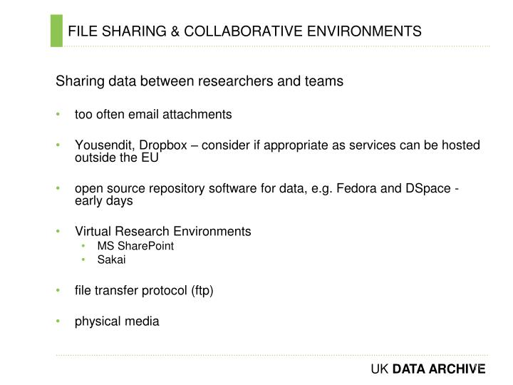 FILE SHARING & COLLABORATIVE ENVIRONMENTS