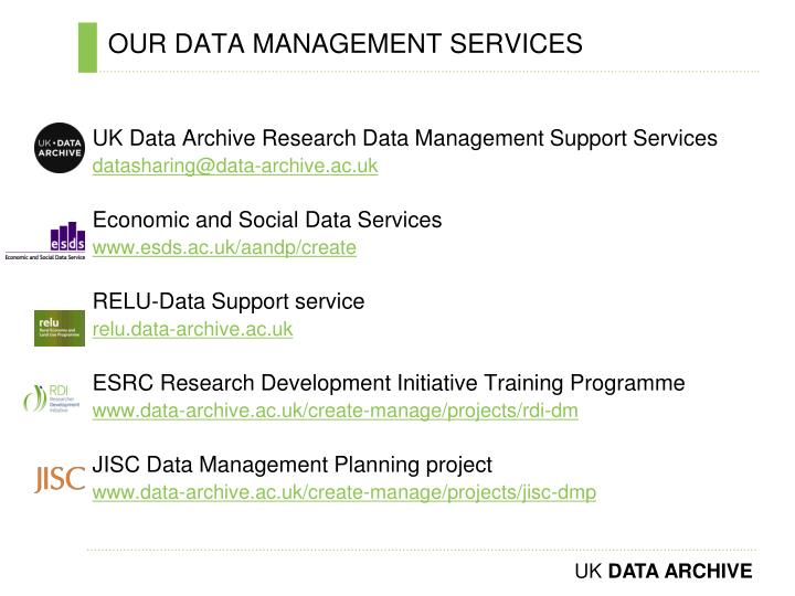 OUR DATA MANAGEMENT SERVICES