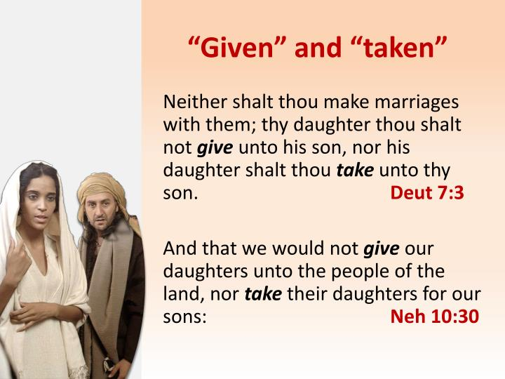 """Given"" and ""taken"""