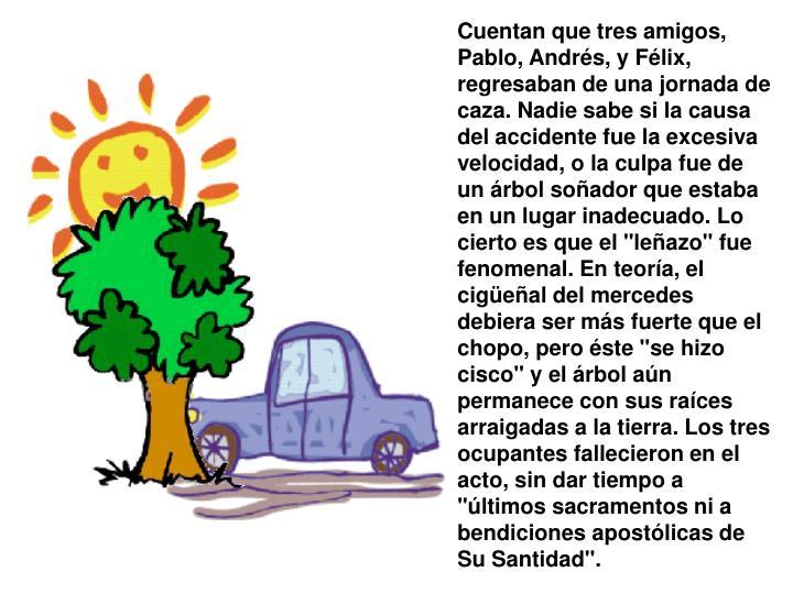 """Cuentan que tres amigos, Pablo, Andrés, y Félix, regresaban de una jornada de caza. Nadie sabe si la causa del accidente fue la excesiva velocidad, o la culpa fue de un árbol soñador que estaba en un lugar inadecuado. Lo cierto es que el """"leñazo"""" fue fenomenal. En teoría, el cigüeñal del mercedes debiera ser más fuerte que el chopo, pero éste """"se hizo cisco"""" y el árbol aún permanece con sus raíces arraigadas a la tierra. Los tres ocupantes fallecieron en el acto, sin dar tiempo a """"últimos sacramentos ni a bendiciones apostólicas de Su Santidad""""."""