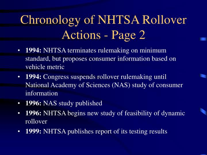 Chronology of NHTSA Rollover Actions - Page 2