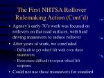 the first nhtsa rollover rulemaking action cont d