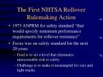 the first nhtsa rollover rulemaking action