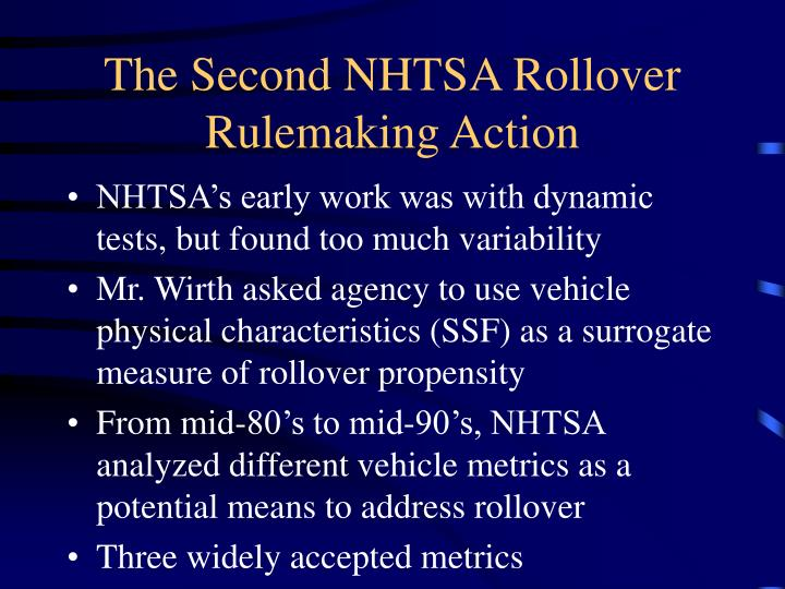 The Second NHTSA Rollover Rulemaking Action