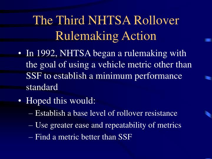 The Third NHTSA Rollover Rulemaking Action