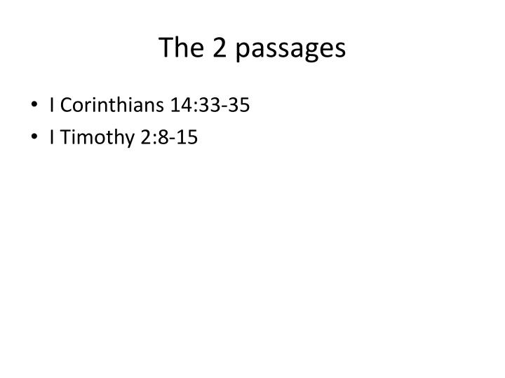 The 2 passages