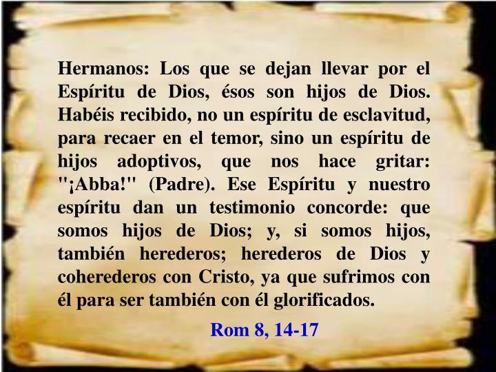 """Hermanos: Los que se dejan llevar por el Espíritu de Dios, ésos son hijos de Dios. Habéis recibido, no un espíritu de esclavitud, para recaer en el temor, sino un espíritu de hijos adoptivos, que nos hace gritar: """"¡Abba!"""" (Padre). Ese Espíritu y nuestro espíritu dan un testimonio concorde: que somos hijos de Dios; y, si somos hijos, también herederos; herederos de Dios y coherederos con Cristo, ya que sufrimos con él para ser también con él glorificados."""