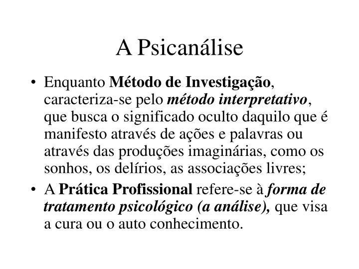 A Psicanálise