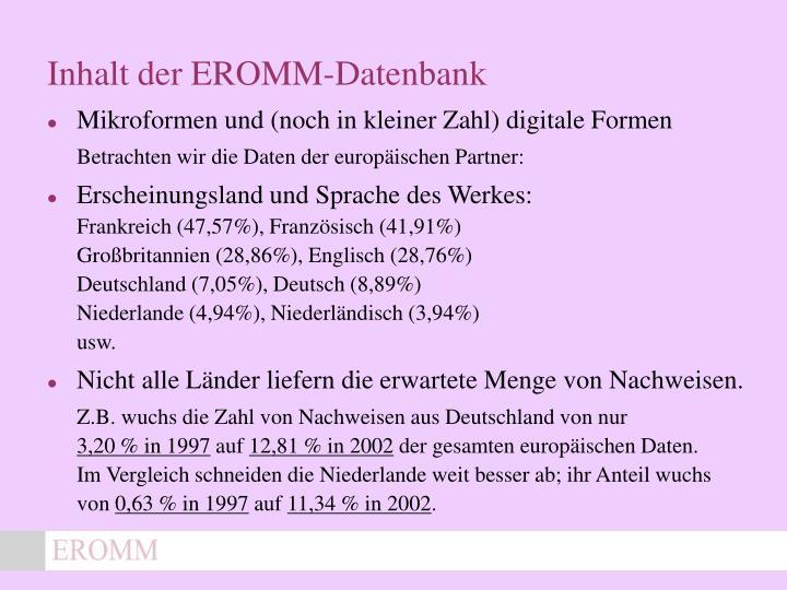 Inhalt der EROMM-Datenbank
