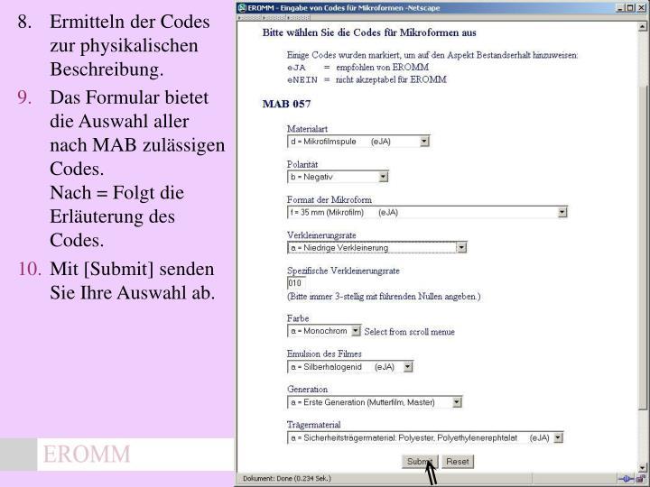 8.Ermitteln der Codes zur physikalischen Beschreibung.