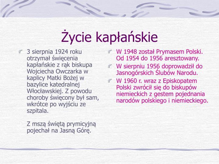 3 sierpnia 1924 roku otrzymał święcenia kapłańskie z rąk biskupa Wojciecha Owczarka w kaplicy Matki Bożej w bazylice katedralnej Włocławskiej. Z powodu choroby święcony był sam, wkrótce po wyjściu ze szpitala.