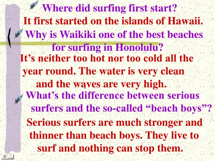 Where did surfing first start?