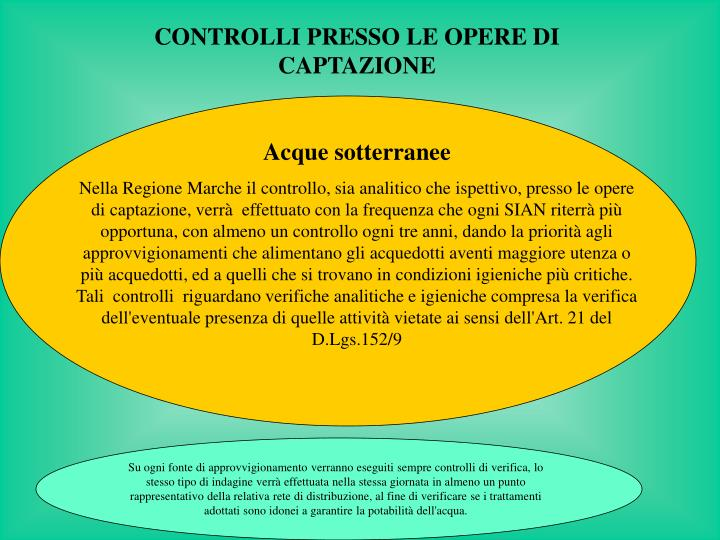 CONTROLLI PRESSO LE OPERE DI CAPTAZIONE