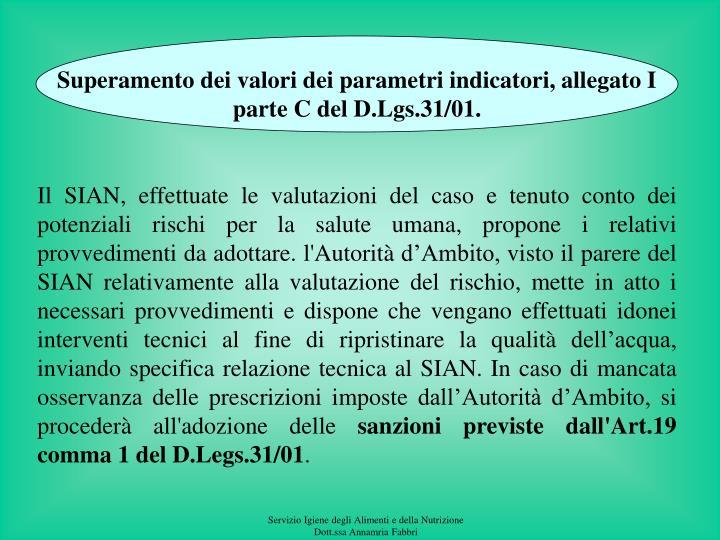 Superamento dei valori dei parametri indicatori, allegato I parte C del D.Lgs.31/01.