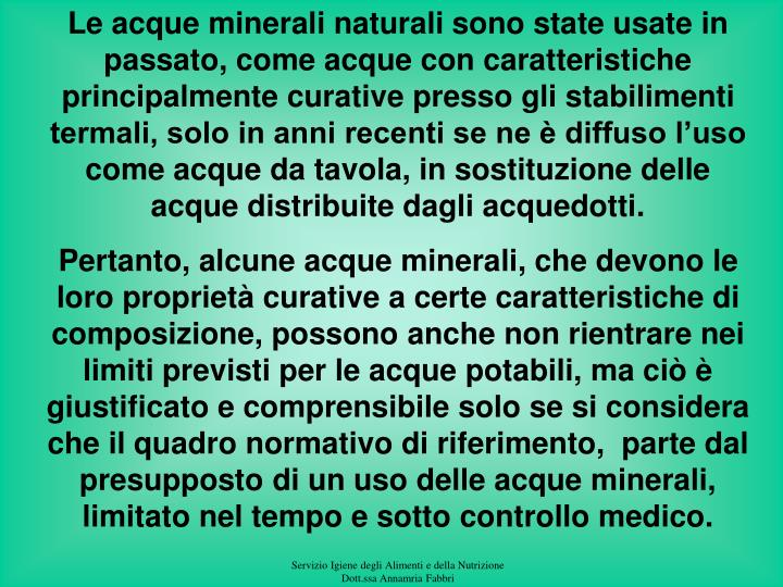 Le acque minerali naturali