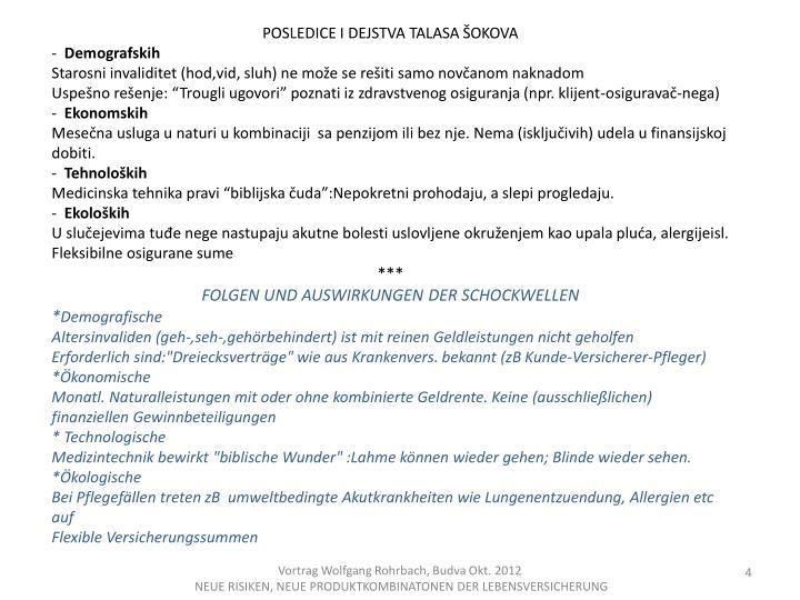 POSLEDICE I DEJSTVA TALASA ŠOKOVA