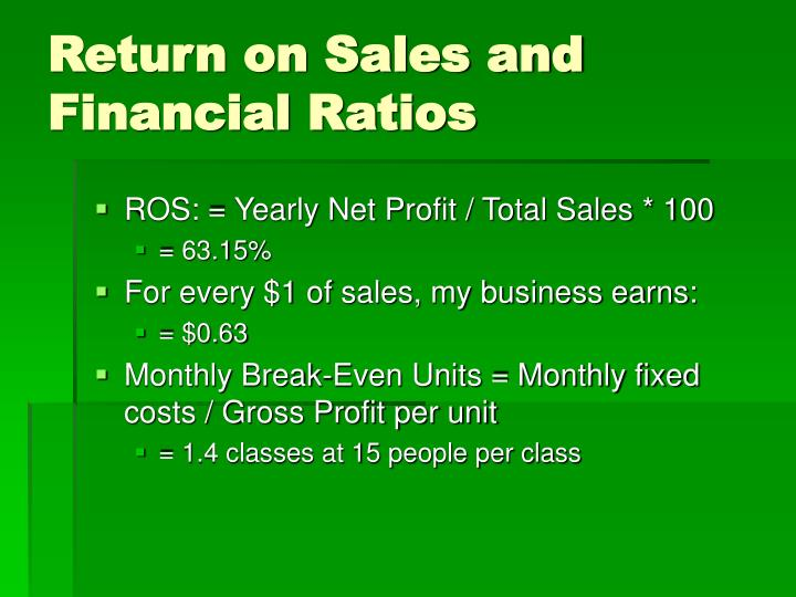Return on Sales and Financial Ratios