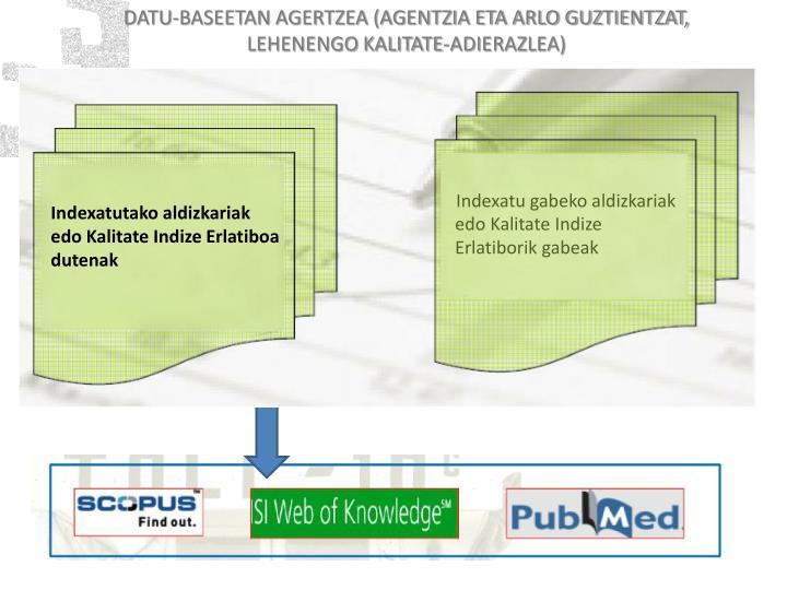 DATU-BASEETAN AGERTZEA (AGENTZIA ETA ARLO GUZTIENTZAT, LEHENENGO KALITATE-ADIERAZLEA)