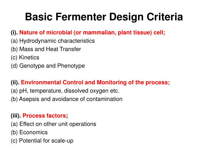 Basic Fermenter Design Criteria