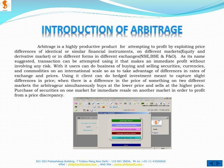 Introduction of Arbitrage