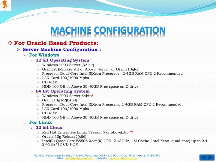 Machine configuration