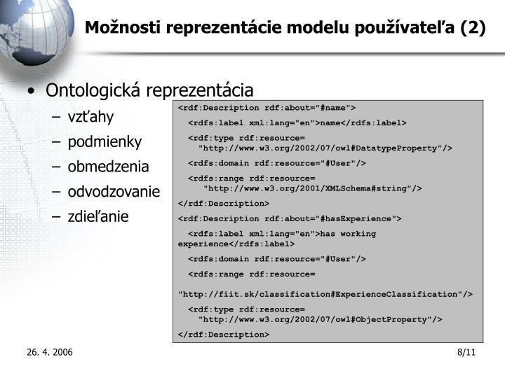 Možnosti reprezentácie modelu používateľa (2)