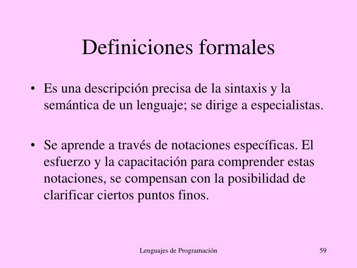Definiciones formales