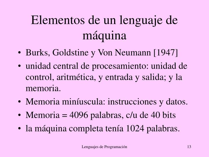 Elementos de un lenguaje de máquina
