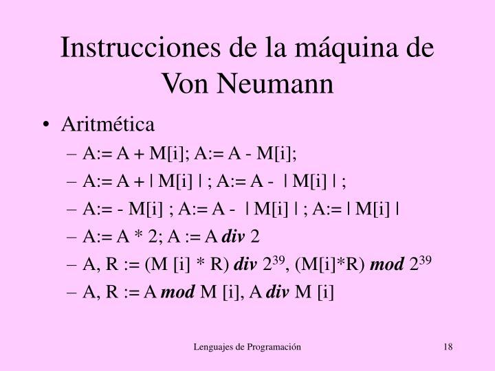 Instrucciones de la máquina de Von Neumann
