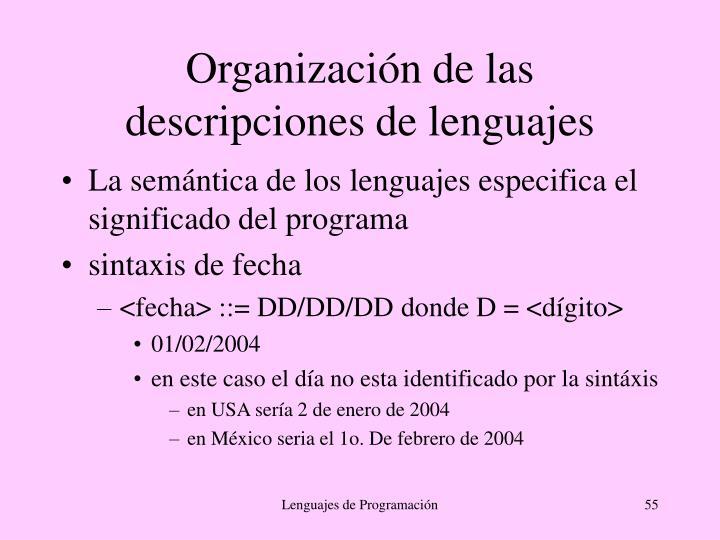 Organización de las descripciones de lenguajes