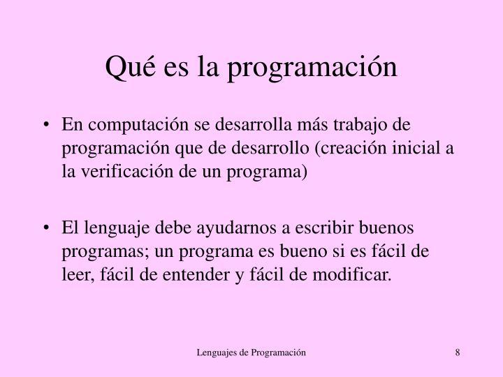 Qué es la programación