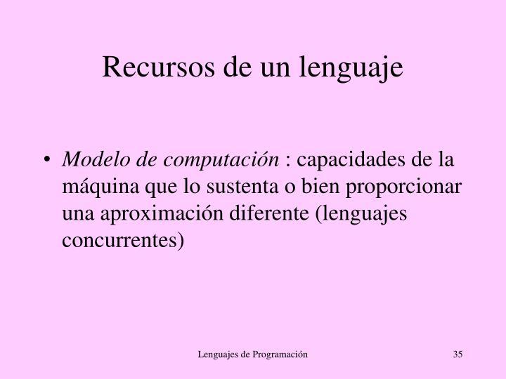 Recursos de un lenguaje