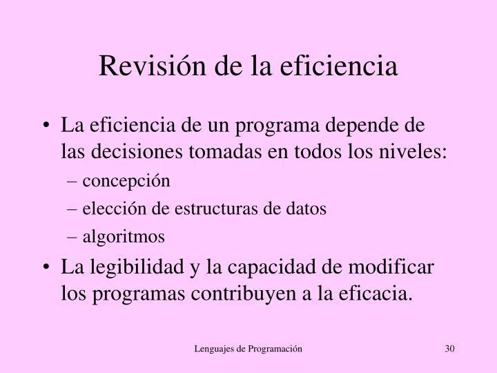 Revisión de la eficiencia