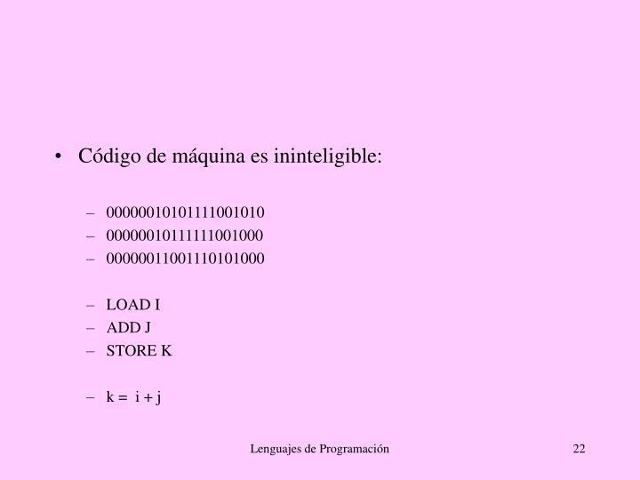 Código de máquina es ininteligible: