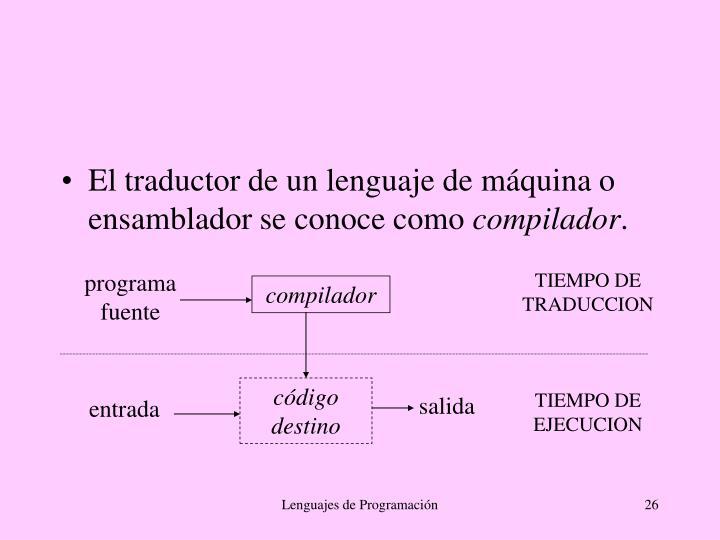 El traductor de un lenguaje de máquina o ensamblador se conoce como
