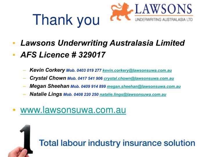 Lawsons underwriting australasia ltd