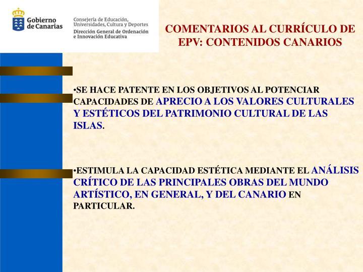 COMENTARIOS AL CURRÍCULO DE EPV: CONTENIDOS CANARIOS
