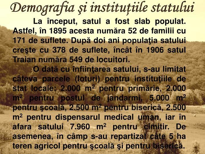 Demografia şi instituţiile statului